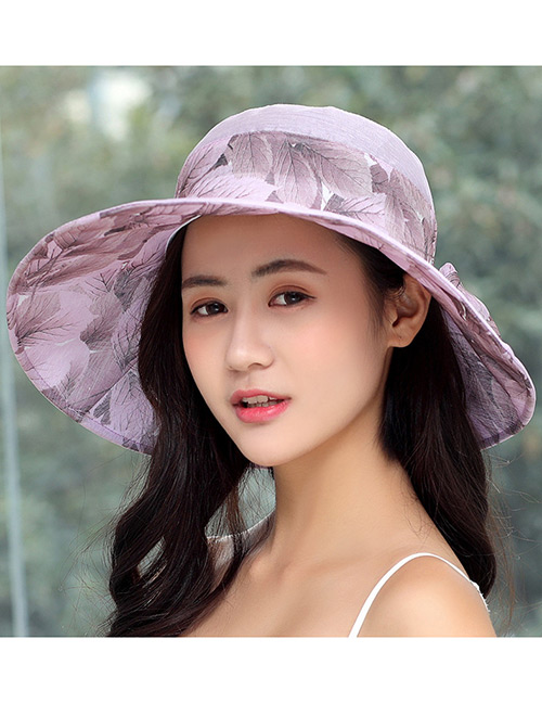 Fashion Purple Bowknot Decorated Foldable Sun Hat