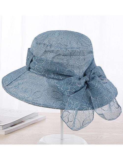 Fashion Blue Pure Color Decorated Foldable Sun Hat