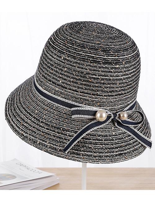 Fashion Navy Pearls Decorated Fisherman Sunshade Hat