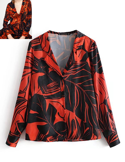 Fashion Red Leaf Pattern Decorated Shirt