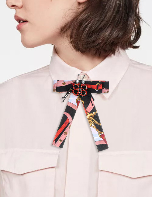 Trendy Black Insect Shape Decorated Bowknot Brooch