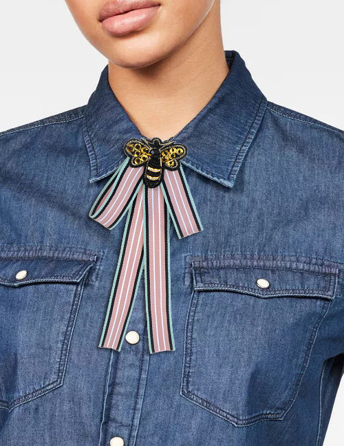 Trendy Pink Bee Decorated Stripe Design Bowknot Brooch
