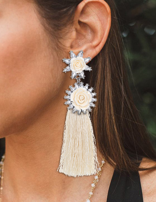 Trendy Beige Flowers Decorated Long Tassel Earrings