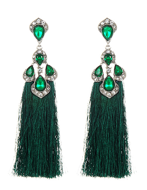 Trendy Green Diamond Decorated Long Tassel Earrings