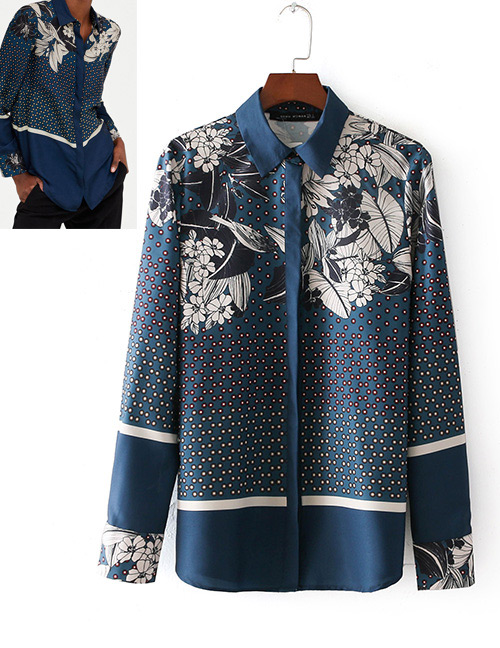 Fashion Navy Flowers Decorated Long Sleeves Shirt