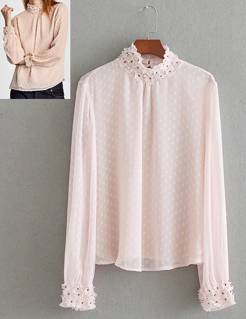 Fashion Pink Pure Color Desgin Long Sleeves Shirt