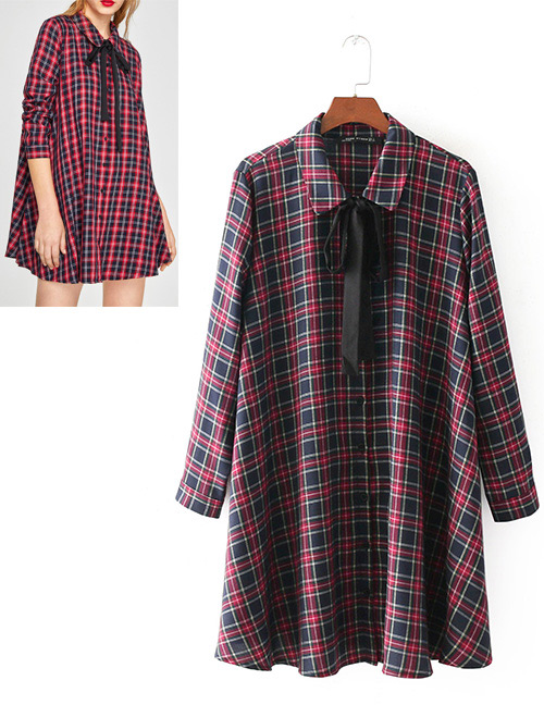 Fashion Red Grid Pattern Decorated Long Sleeves Shirt