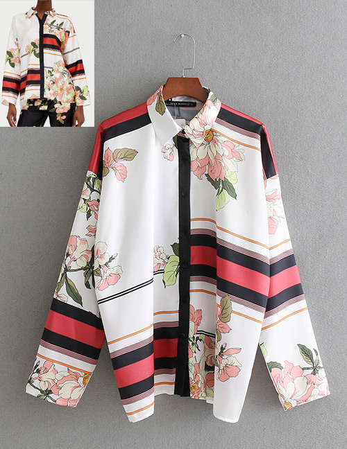 Fashion White Flowers Decorated Long Sleeves Shirt