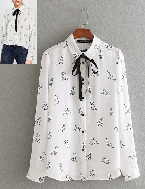 Fashion White Dogs Pattern Decorated Simple Shirt