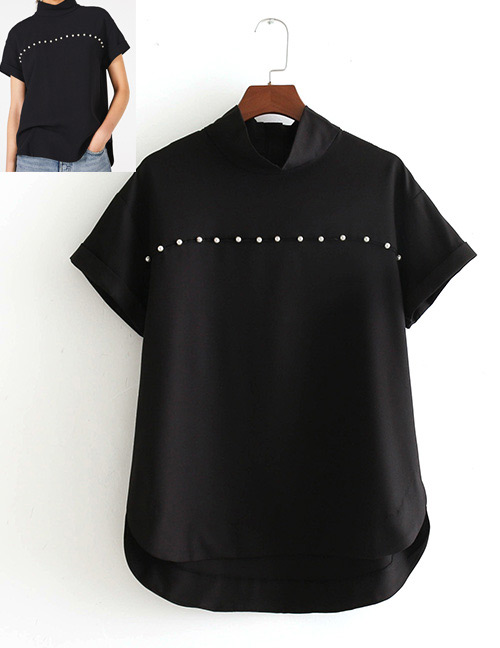 Fashion Black Pearls Decorated Short Sleeves Blouse