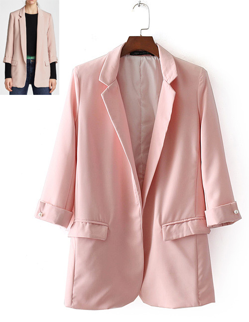 Fashion Pink Pure Color Decorated Long Coat
