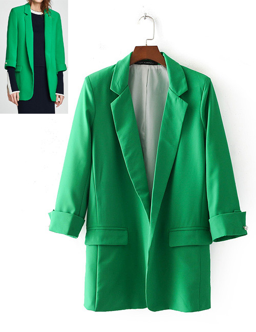 Fashion Green Pure Color Decorated Long Coat