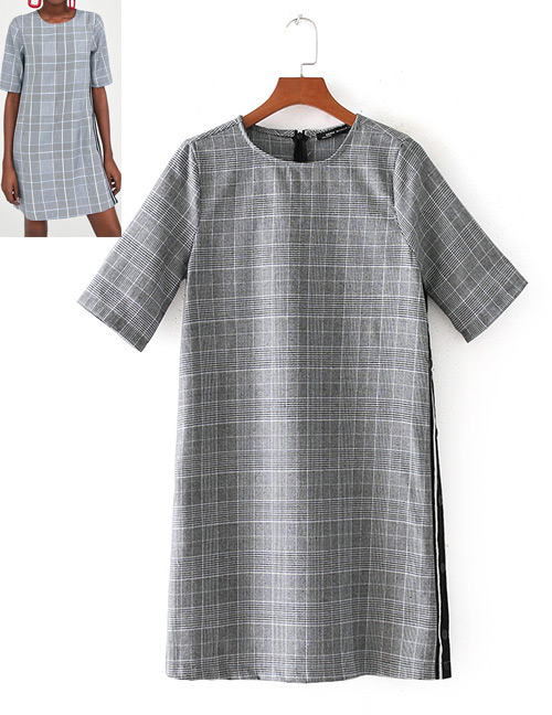 Fashion Gray Grid Pattern Decorated Short Sleeves Dress