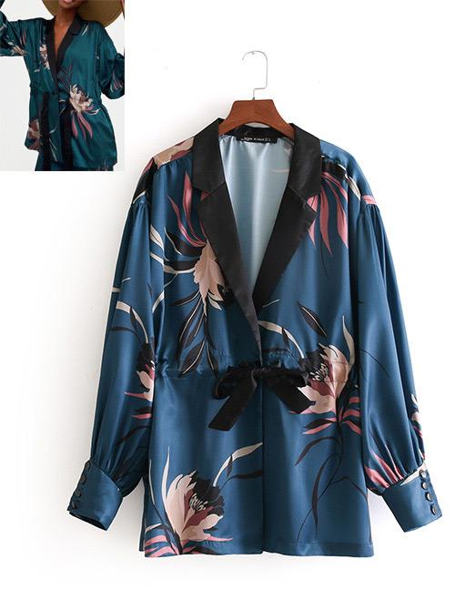 Fashion Light Blue Flowers Decorated V Neckline Kimono