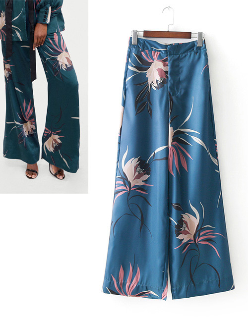 Fashion Light Blue Flowers Decorated Wide-legs Pants