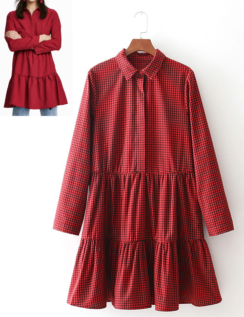 Fashion Red Grid Pattern Decorated Long Sleeves Dress