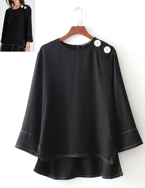 Fashion Black Lines Pattern Decorated Long Sleeves Blouse