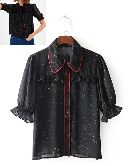 Fashion Black Flower Pattern Decorated Shirt