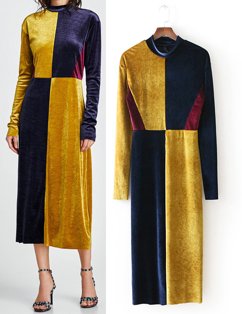Fashion Navy+yellow Color-matching Decorated Dress
