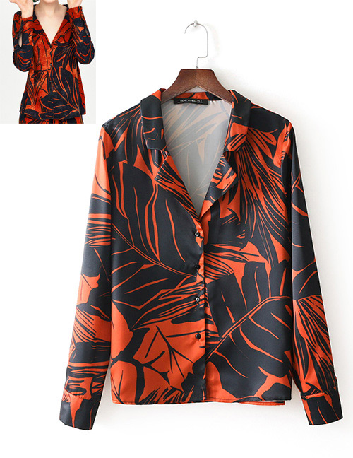 Fashion Orange Flower Shape Decorated Shirt