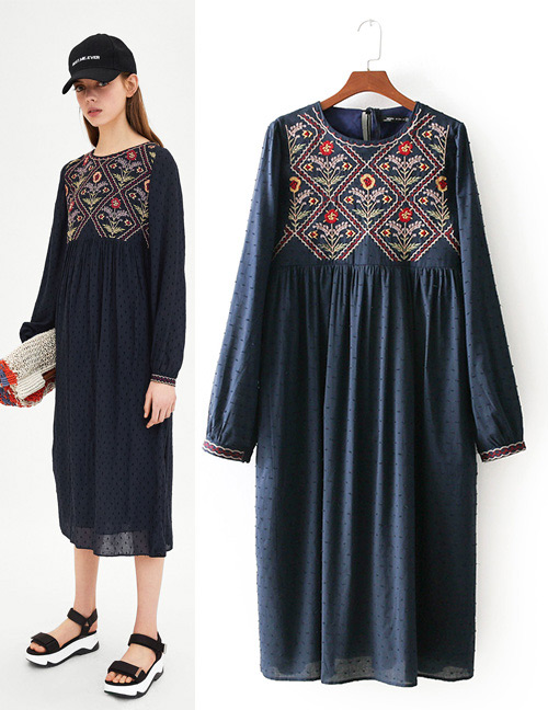 Fashion Navy Embroidery Flower Shape Decorated Dress