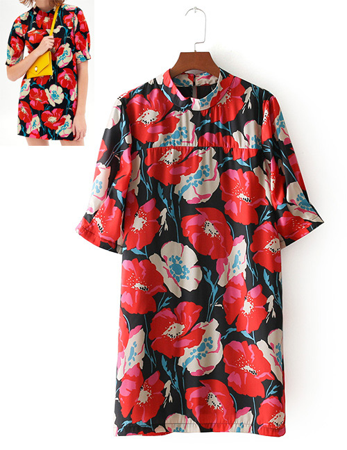 Fashion Red Flower Shape Decorated Dress