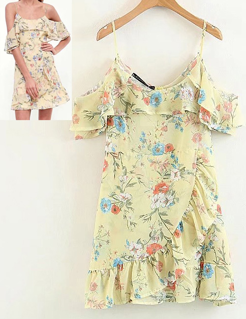 Fashion Yellow Off-the-shoulder Shape Decorated Dress