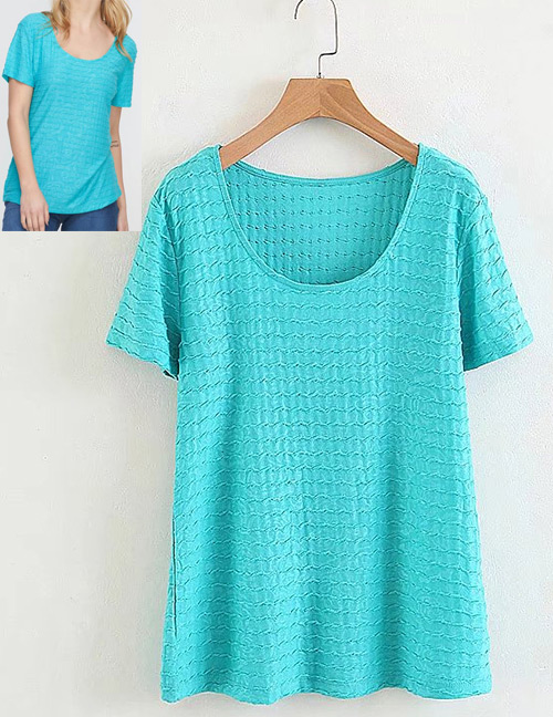 Fashion Blue Pure Color Decorated T-shirt