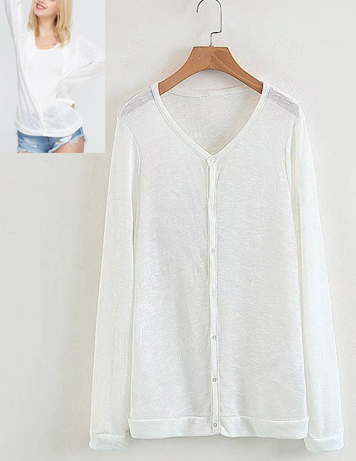 Fashion White Pure Color Decorated T-shirt