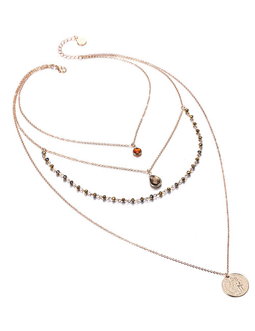 Fashion Gold Color+coffee Round Shape Decorated Multi-layer Necklace