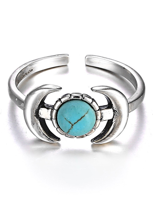 Fashion Silver Color+blue Anchor Shape Design Opening Ring