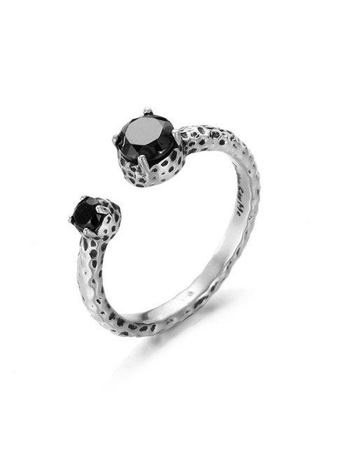 Fashion Silver Color+black Diamond Decorated Opening Ring