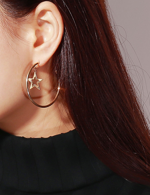 Fashion Gold Color Stars Shape Decorated Pure Color Earrings