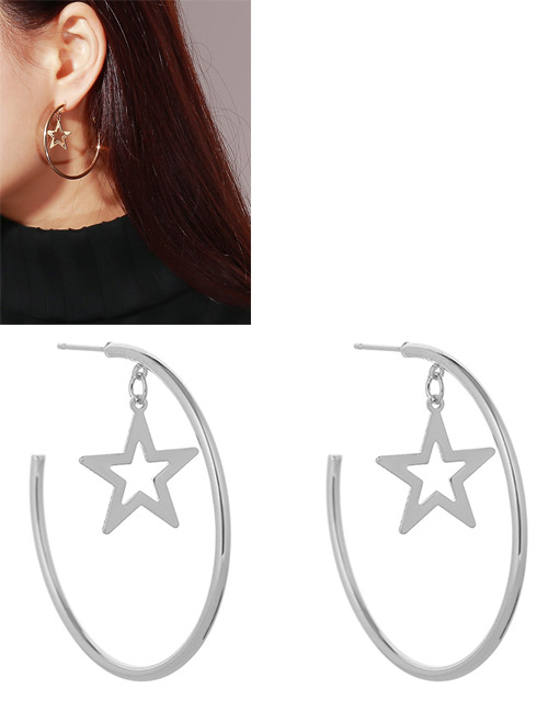 Fashion Silver Color Stars Shape Decorated Pure Color Earrings