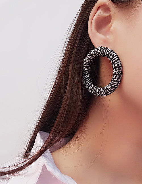 Fashion White+black Grid Pattern Decorated Simple Earrings
