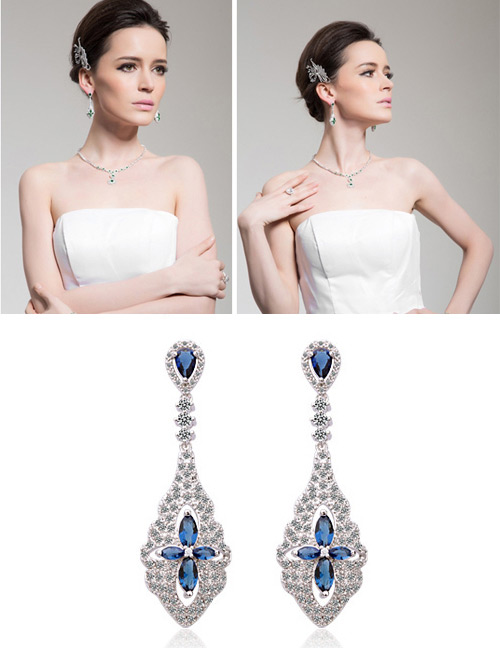 Exaggerated Blue Flowers Shape Design Long Earrings