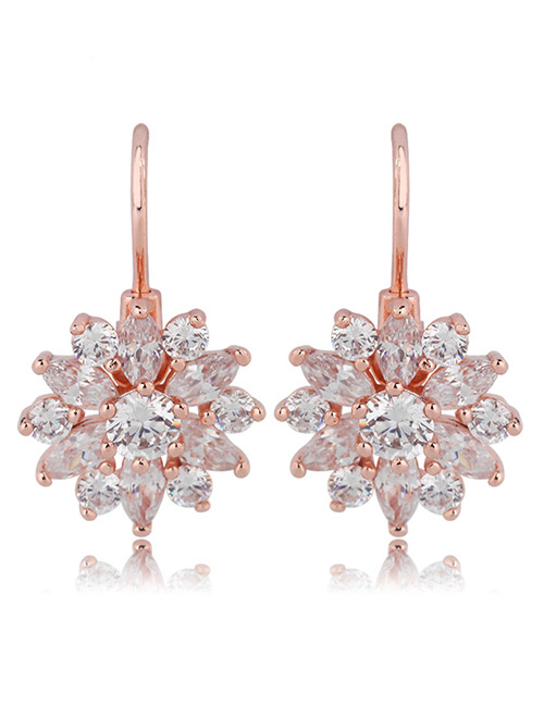 Fashion Rose Gold Snowflake Shape Design Pure Color Earrings