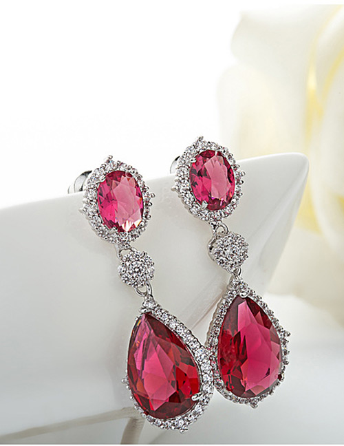 Fashion Red Water Drop Shape Design Pure Color Earrings