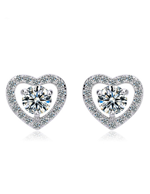 Fashion White Heart Shape Design Pure Color Earrings