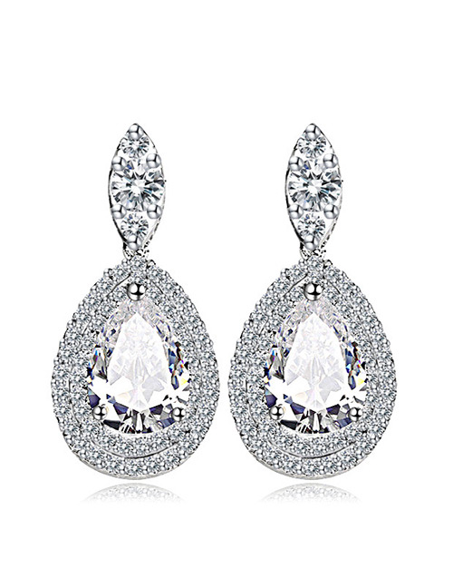 Fashion White Full Diamond Decorated Pure Color Earrings