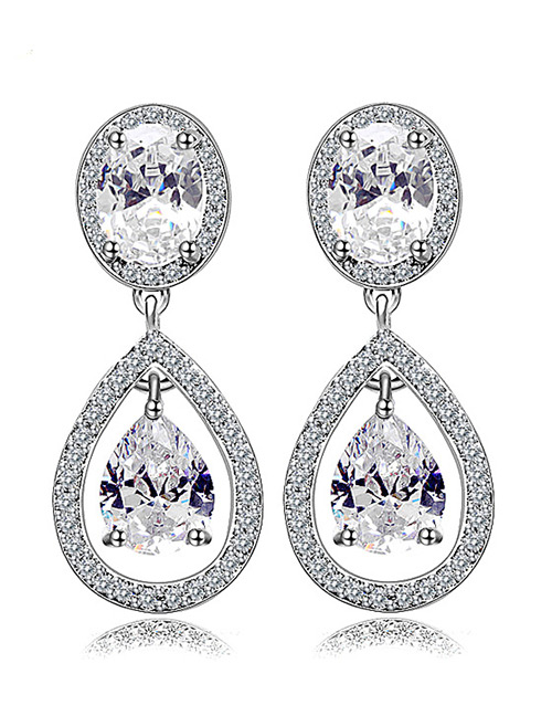 Fashion Silver Color Waterdrop Shape Decorated Earrings