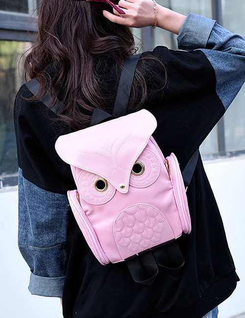 Fashion Pink Owl Shape Decorated Backpack
