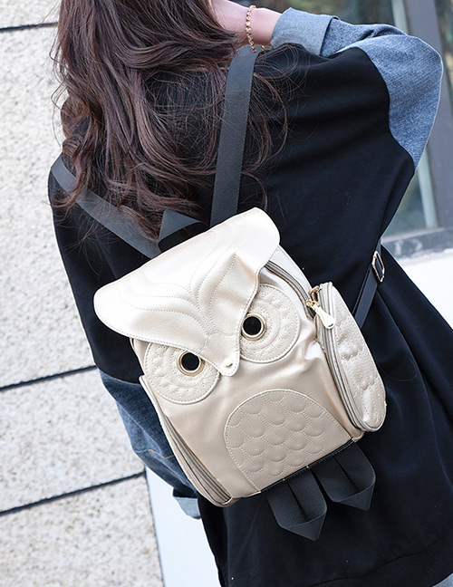 Fashion Gold Color Owl Shape Decorated Backpack