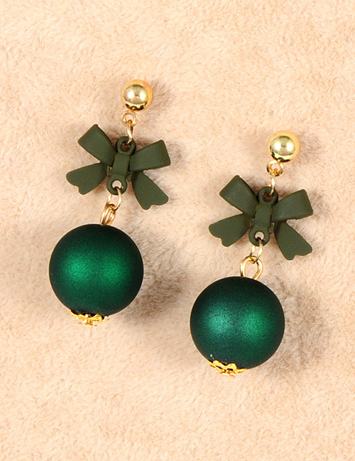 Fashion Dark Green Bowknot Decorated Simple Earrings
