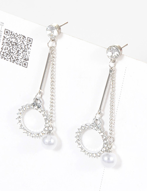 Fashion Silver Color Diamond&pearls Decorated Pure Olor Earrings