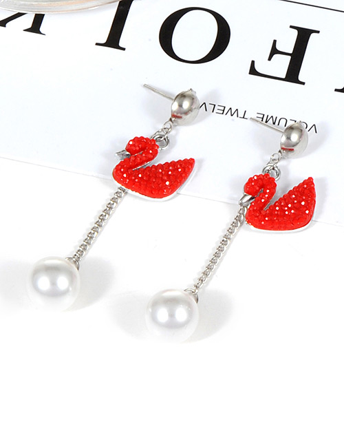 Fashion Red Swans Shape Design Simple Earrings