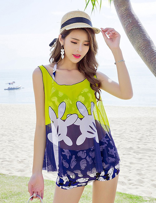Sexy Yellow Cartoon Pattern Decorated Swimwear(3pcs)