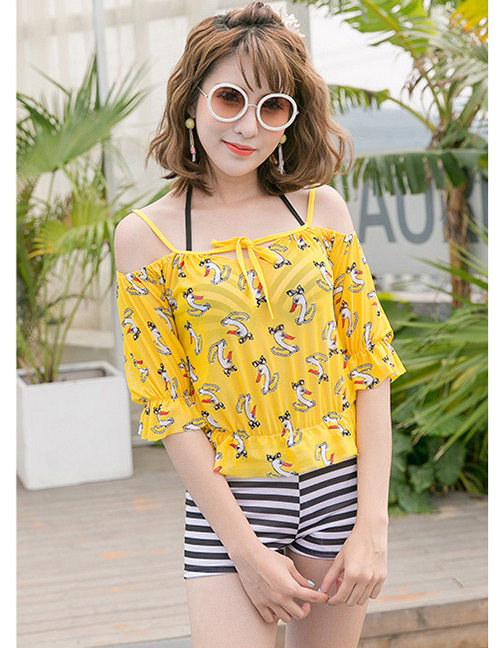 Sexy Yellow Swans Pattern Decorated Swimwear(3pcs)