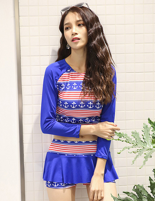 Sexy Sapphire Blue Anchor Pattern Decorated Long Sleeves Swimwear
