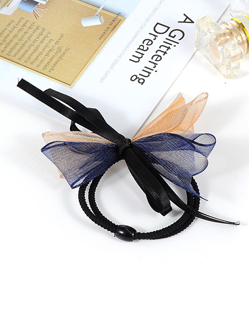 Fashion Blue+orange Bowknot Decorated Double Layer Hair Band